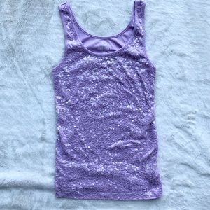 Lilac sequin tank top like new!